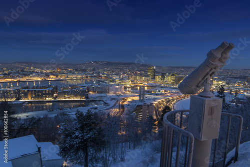 Oslo Skyline winter morning Lerretsbilde
