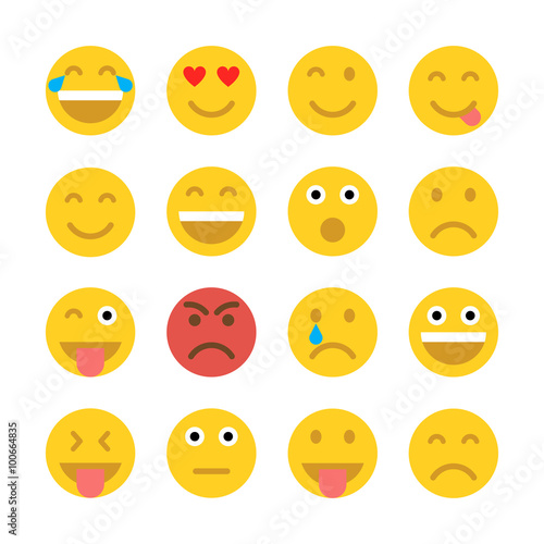 Set of Emoticons. Emoji. Poster