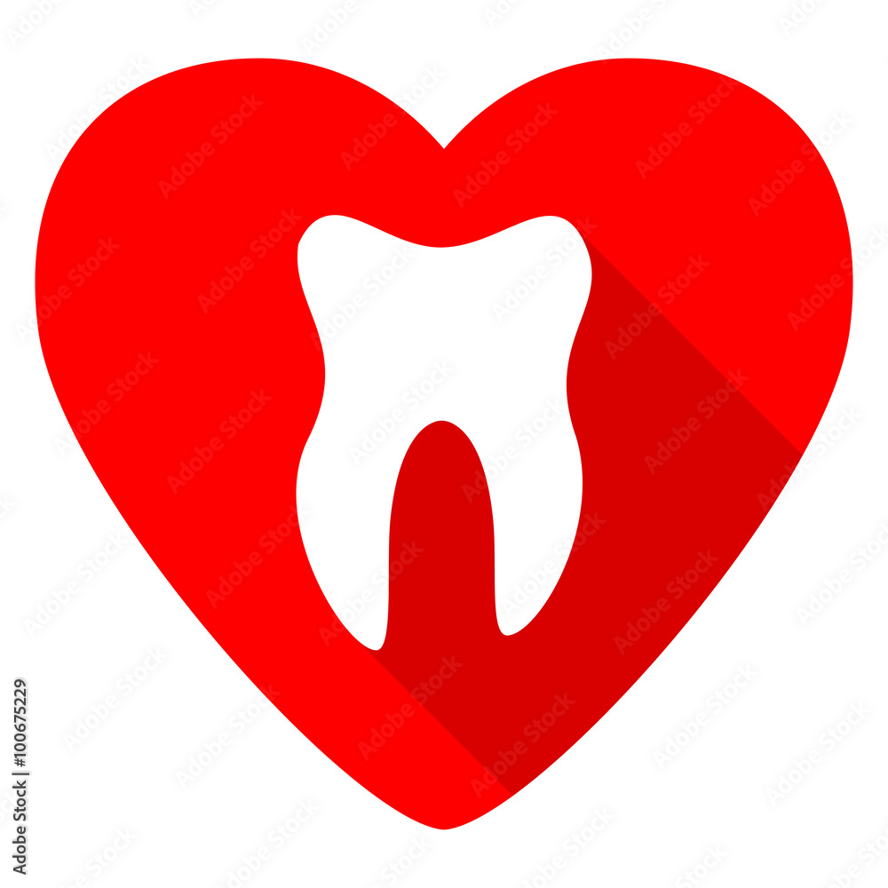Fotografia  tooth red heart valentine flat icon
