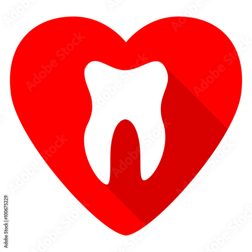 tooth red heart valentine flat icon Fototapet