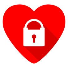 Padlock Red Heart Valentine Flat Icon