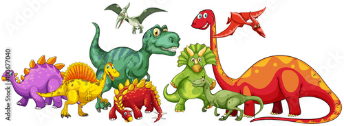 Photo  Different type of dinosaurs in group