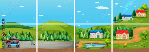 Wall Murals Green coral Set of different scene from the countryside
