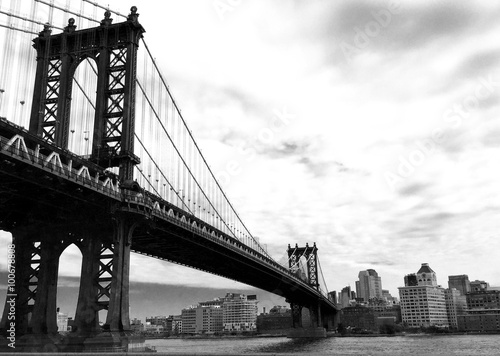 manhattan bridge and the city in black and white style Poster