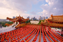 Red Chinese Lanterns Display, Taken At The Chinese Temple For New Year Celebrations. Red Is Lucky Colour For Chinese