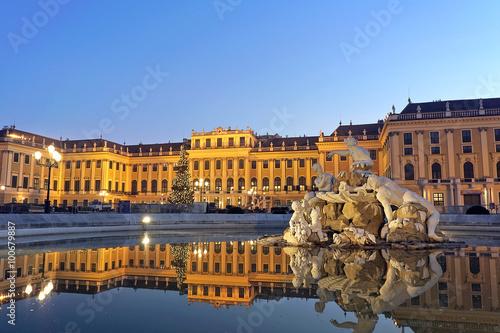 Schonbrunn Palace in Vienna at sunset
