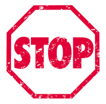 Stop Word Red Grunge Stamp Demand Protest End