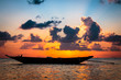 Fisherman boat with sunset scene in koh phangan.