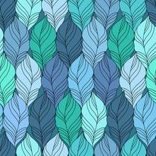 Blue Vector Seamless Contour Pattern.
