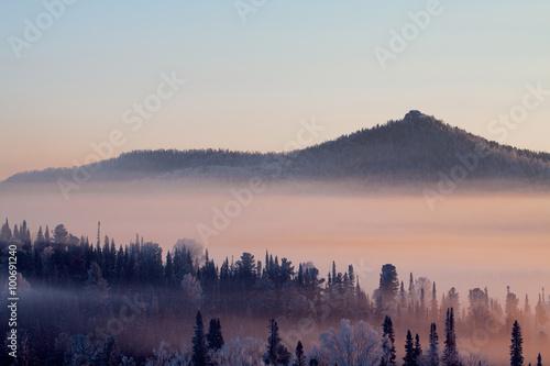 Poster Morning with fog Горы. Туманное утро на горнолыжном курорте Шерегеш