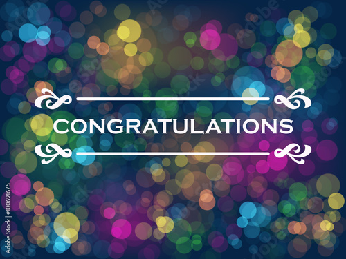 CONGRATULATIONS Card with colourful bokeh lights background Canvas-taulu