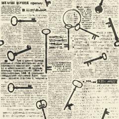Tapeta Imitation of newspaper with keys
