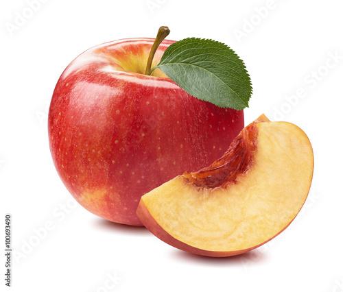 Foto op Aluminium Vruchten Red apple peach slice isolated on white background