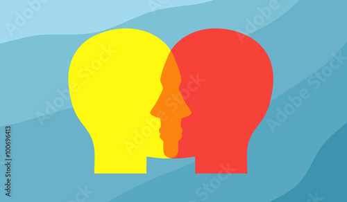 Fotografia  Vector concept depicting two human heads overlapping each other