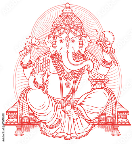 Photo  Lord Ganesha outline