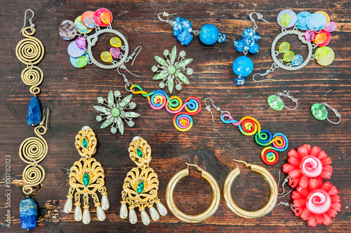 Fotografie, Obraz  Costume jewelry for women. Various types of earrings.