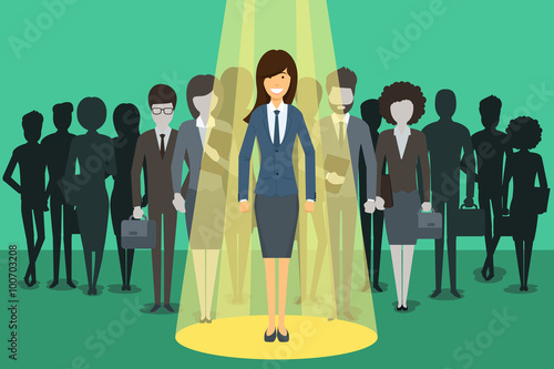 Fotobehang Licht, schaduw Businesswoman in spotlight. Picking the right candidate professional concept background. Leadership standing boss, executive profession, vector illustration