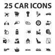 Car, repair 25 black simple icons set for web