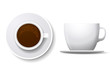 Coffee cup isolated on white. Top view and side view white coffee cup. Coffee espresso beverage, breakfast and caffeine, cappuccino and saucer. Coffee cup vector illustration