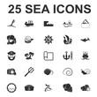 Sea, ocean, diving 25 black simple icons set for web