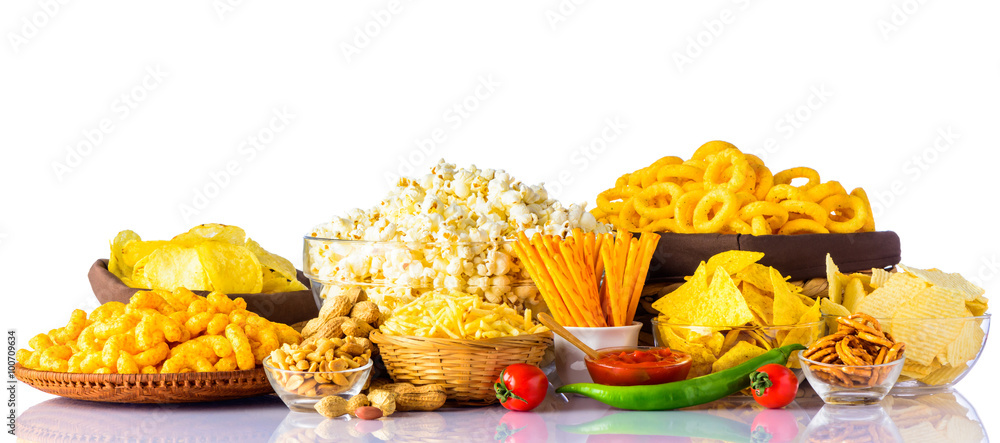 Fototapety, obrazy: Junk Food on White Background