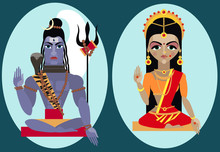 Vector Lord Shiva And Mata Par...