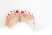 Feet Soaking In Spa Bath