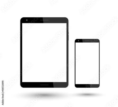 Obraz tablet and smartphone vector mockup over white, vector illustration - fototapety do salonu