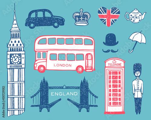 Poster Doodle Hand drawn England set, vector illustration