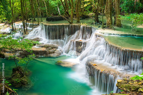 Poster Olive Huay Mae Khamin waterfall in tropical forest,Thailand