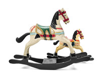 Old Toy Horses On A White Background