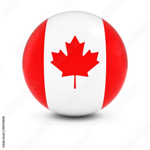 Canadian Flag Ball - Flag of Canada on Isolated Sphere