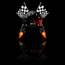 Racing Theme With Reflections. Many Objects Included Like Flag, Tachometer, Exhaust. Vector Illustration.