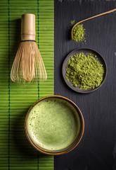 Fototapeta Do herbaciarni Matcha accessories and green tea