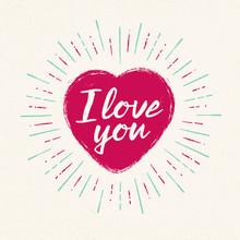 Handwritten, Vintage Flavored Valentine's Card - I Love You - EPS10