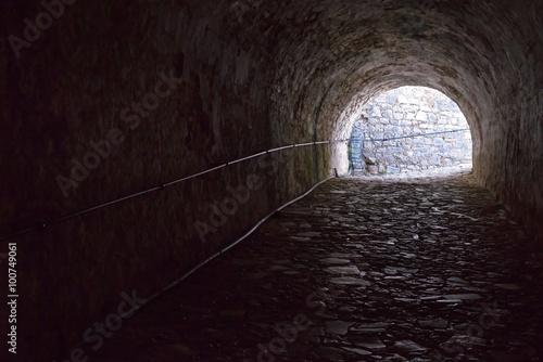 old stone tunnel of fortress from the inside