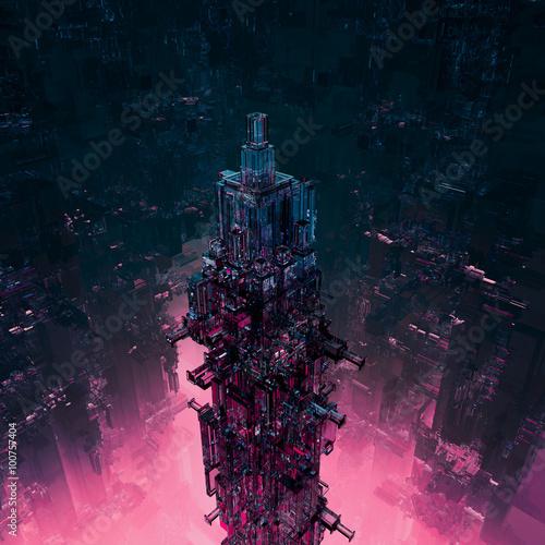 Fotografie, Obraz  Glass technocore city / 3D render of futuristic science fiction structure