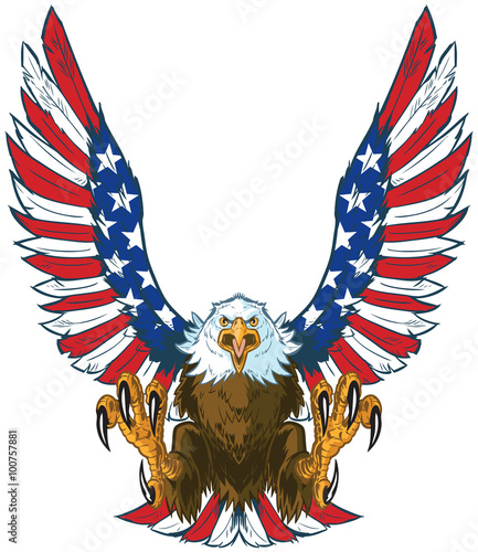 Fotografie, Tablou  Screaming Eagle with American Flag Wings Vector Clip Art