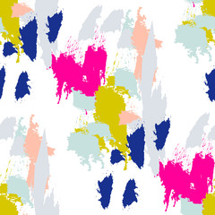 FototapetaAcrylic paint brush strokes vector seamless pattern. Artistic colorful stains and swabs in abstract manner.