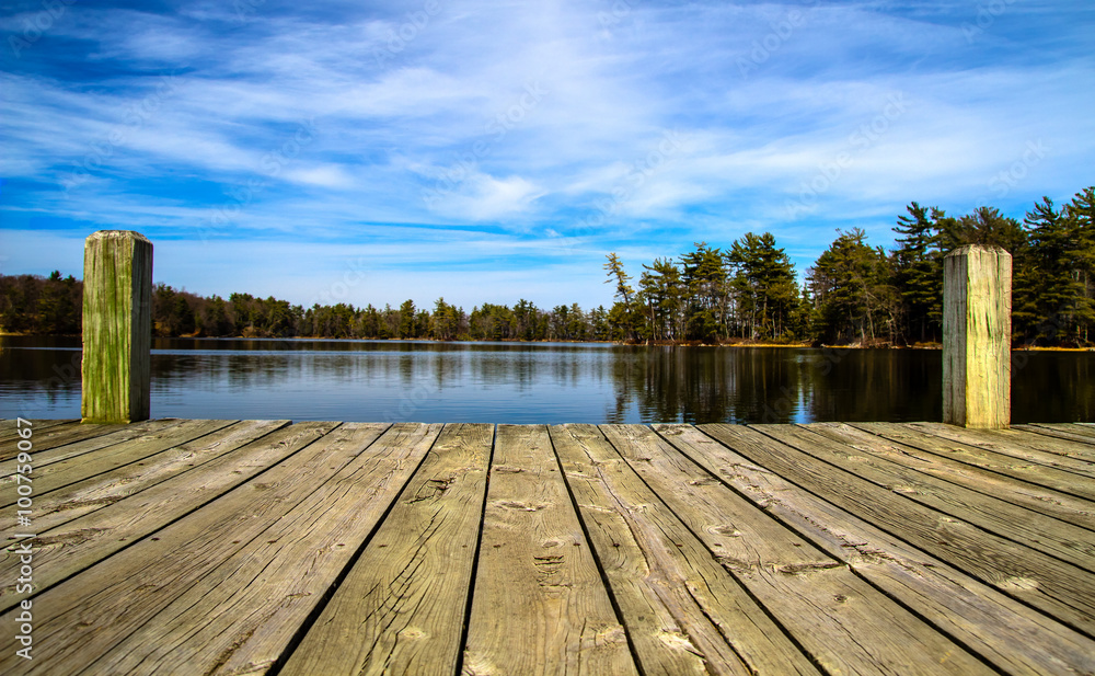 Fototapety, obrazy: Summer Day At The Lake. Wooden dock overlooking a gorgeous lake in the wilderness. Ludington State Park. Ludington, Michigan.