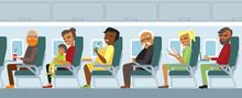 Airplane Passengers On The Fli...