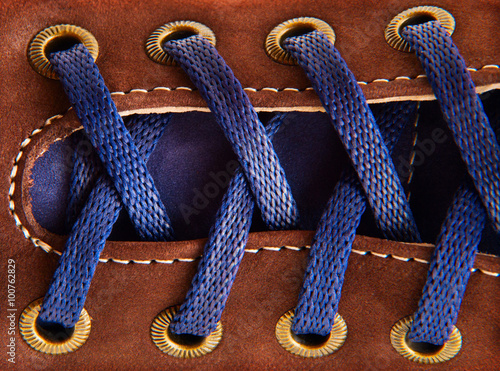 Photographie shoe laces in close-up