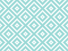 Seamless Modern Stylish Texture And Pattern. White Repeating Geometric Tiles With Dotted Rhombus On A Turquorise Background. Vector Illustration.