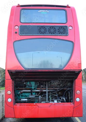 Fotografie, Tablou  Damaged red public bus with open bonnet