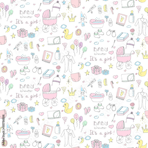 12390aac7f62 Seamless background of baby shower vector illustration icons