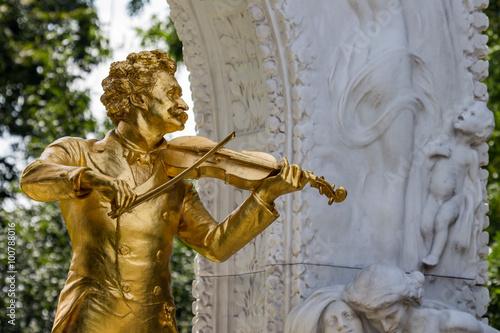 Deurstickers Wenen Österreich, Wien, Johann Strauß Denkmal