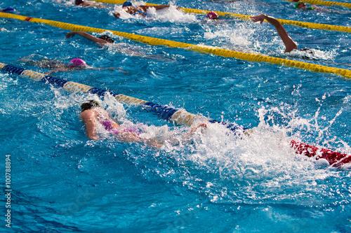 Swimming Canvas Print