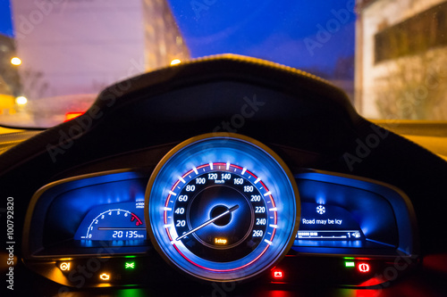 Dashboard Of The Sport Car At Night Buy This Stock Photo And