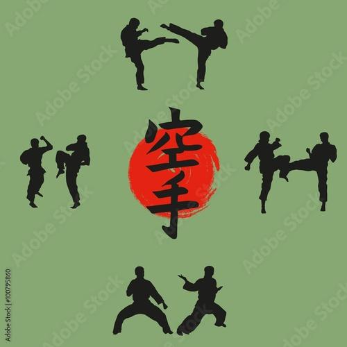Fotografie, Obraz  Illustration, the group of men demonstrates karate.