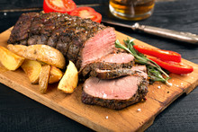 Grilled Beef On A Cutting Board